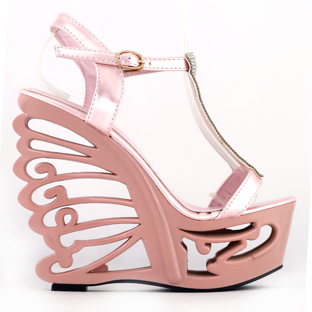 b3b668abc27bd3 LF51803 Pink Silver T-Strap Bride Wedding Wedge Butterfly Heel Sandals