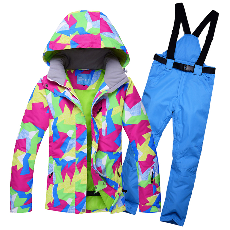 где купить winter warm snow ski suit women waterproof windproof breathable outdoor female ski snowboarding jacket and pants set -30 degrees по лучшей цене