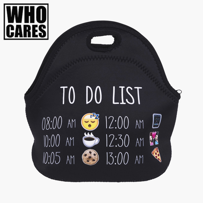 To Do List Emoji 3D Printing insulated lunch bag bolsa termica lunch bags for women bolsa