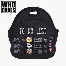 To Do List emoji 3D печати изолированные обед мешок Bolsa Termica обед сумки для женщин Bolsa comida lancheira nevera portátil сумки