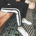 Spring Casual Trousers Male Sweatpants Solid Stripe Drawstring Hip Hop Stright Pants Brand Slim Fit Pants For Men
