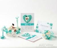 EMS Free Shipping 10pcs Set Hi Q Tiffany Blue Wedding Party Accessories Supplies Suit