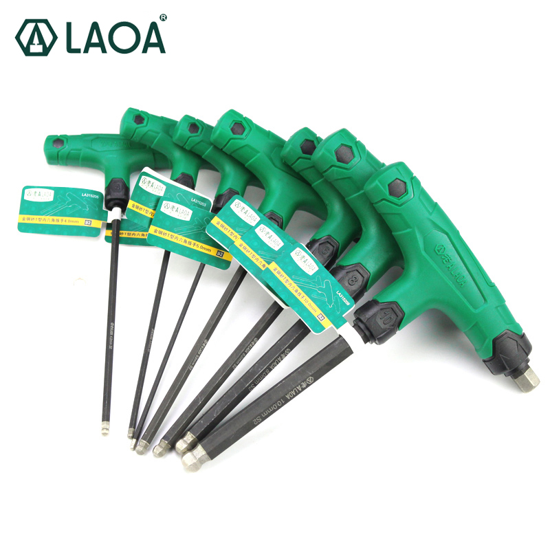 LAOA 1pcs S2 Anti-slide Corundom T Shape Hex Type High Torque Wrench Prelong Hex Screwdrivers 6 Angle Wrench Hand Tool 1pcs industrial grade long ball hex wrench hand tools 12mm