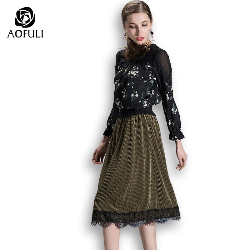 AOFULI S- Xxxl 4xl 5xl Plus Size Women Skirt Suit Set Long Sleeve Floral  Chiffon 83870ae083a9