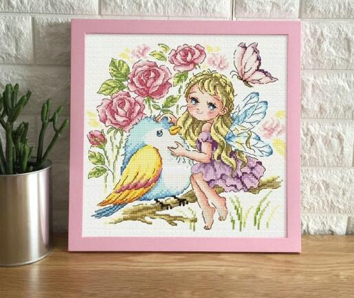 Gold Collection Counted Cross Stitch Kit Rose Fairy And Bird Flower Butterfly SO