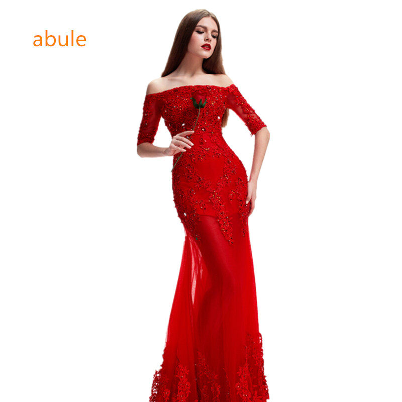 abule 2017 wedding dress summer luxury Designer Mermaid Red turkey beach wedding gowns Crystal lace up vestido de noivas