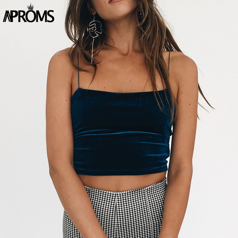 8055eab71b2e6 Aproms 90s Basic Velvet Cropped Camis Fashion Women Streetwear Sexy Elastic  Straps Crop Tank Top Short Bustier T shirts Tees-in Camis from Women s  Clothing ...
