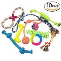 6/10 Pack Corde Palla Frisbee Carota Da Masticare Giocattolo Cane Giocattoli Set Per Medio Grande Cane di Cotone di Tela Regalo