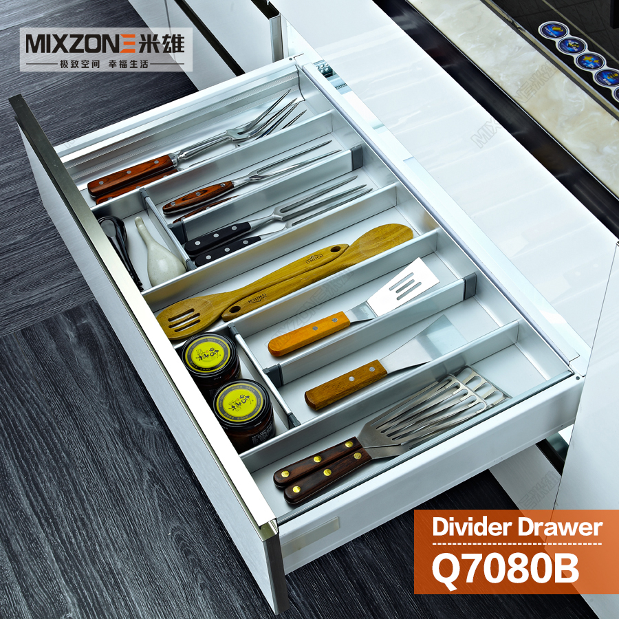 Kitchen Cabinet Aluminum Alloy Utensil Divider Basket Drawer ...