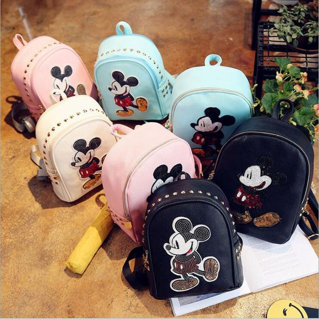 Bolsa de Corea del Ratón Mickey mochilas japonés con orejas de mujeres bolsa de hombro de las mujeres mochila pequeña bolsa de la escuela mochila de cuero