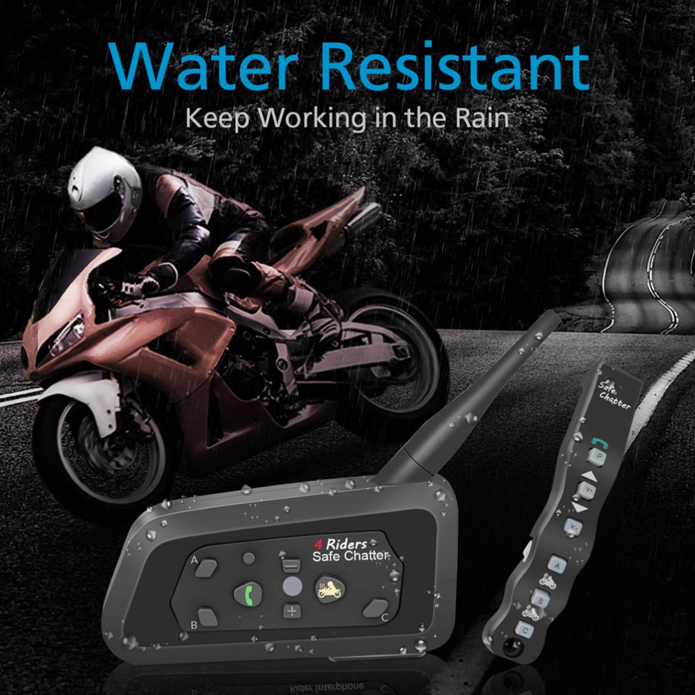 LEXIN 2PC A4 1000M 4 Riders Motorcycle BT Helmet Intercom with Romote Control Moto Bluetooth Interphone Headset Intercomunicador