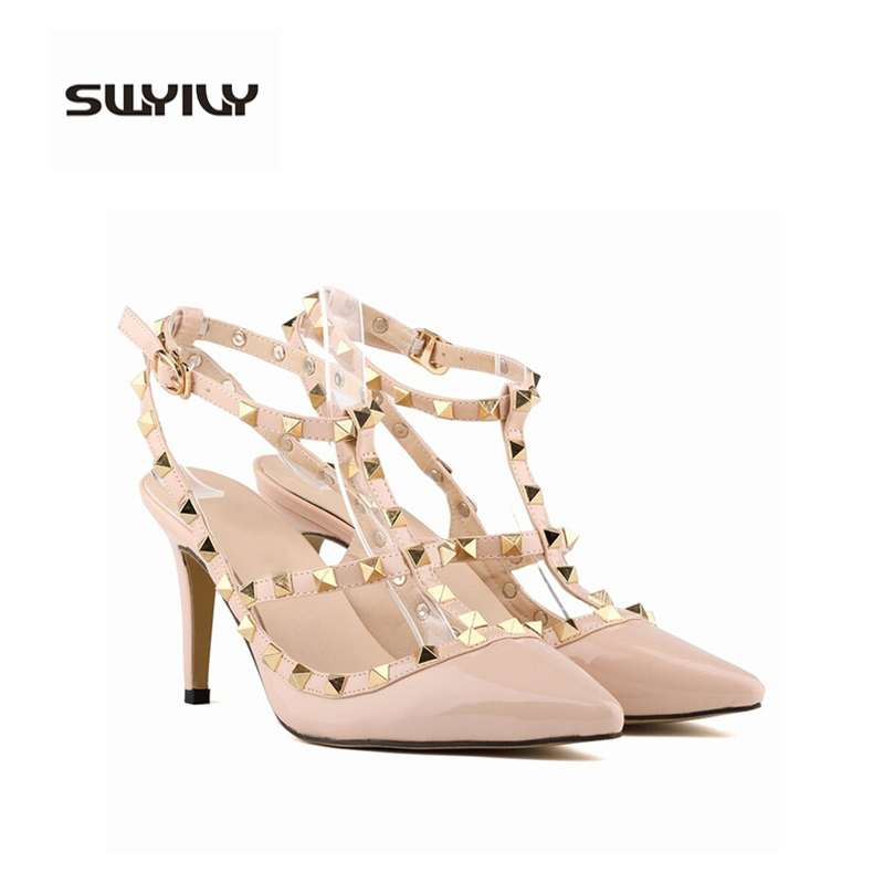 ФОТО brand design Europe sexy pointed women's high heels 2017 female rivet T strape sandals shoes