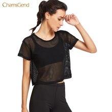 09e393ab2b682 CHAMSGEND 2018 moda mujer camiseta Casual Hollow Out mujeres negro malla  cubrir Casual malla Top estilo Casual camiseta de veran.
