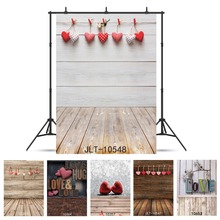 Photographic Background Valentines Day Love Heart Wood Plank Vinyl Backdrop Fond Studio Photo for Weddings Children Newborn