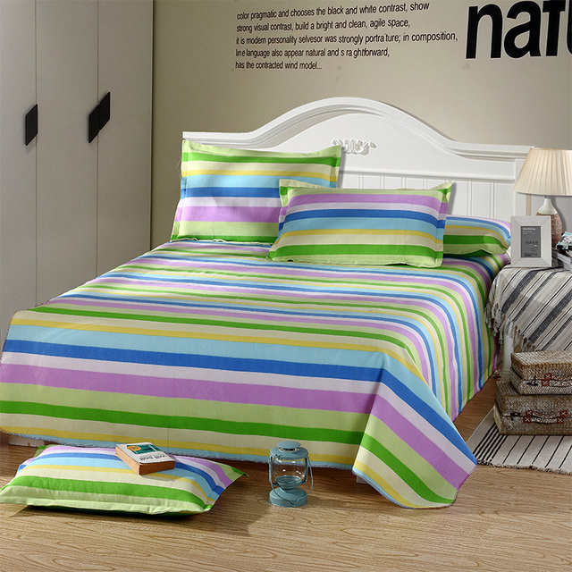 2017 Cool Summer Polyester / Cotton Fabric Fitted Sheets Colorful Stripe  Bedsheet Printed Bed Sheet Kids