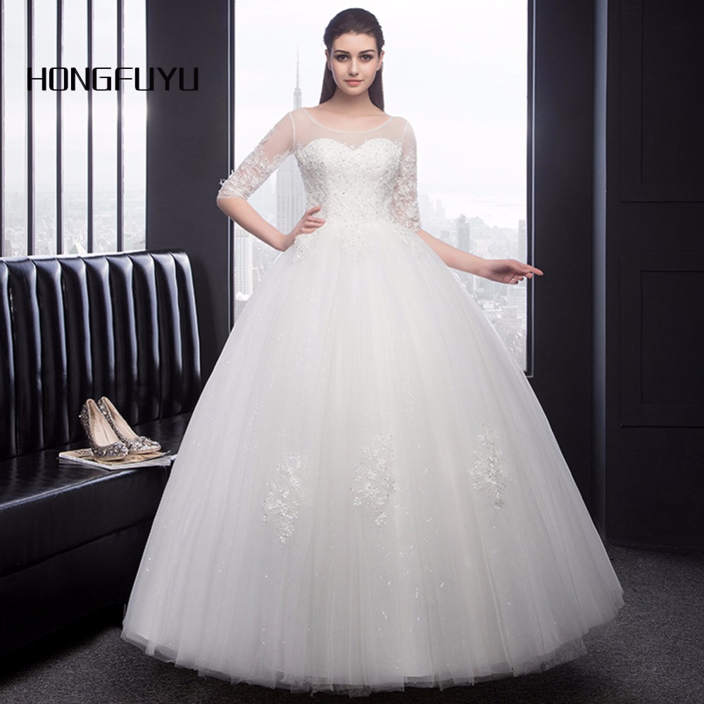 White Round Neck Tulle Lace Long Wedding Dress White: White Beauty Scoop Neck Tulle Appliques Half Sleeve Long