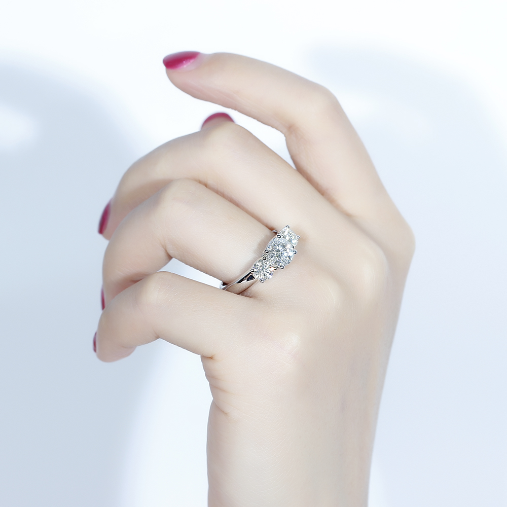 Clearance Sale∩Transgems Anniversary-Ring Moissanite Engagement White Gold 3-Stone 10K And 7mm Side-0.5ct-5mm