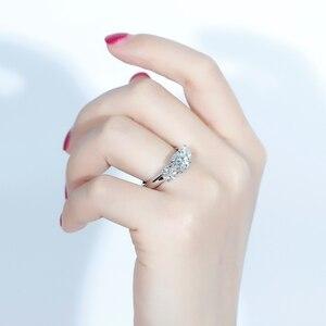 Image 4 - Transgemmes anneau danniversaire de fiançailles 3 pierres Moissanite 10K, or blanc, 2,2 ct, 7mm et côté 0,5 ct, 5mm F