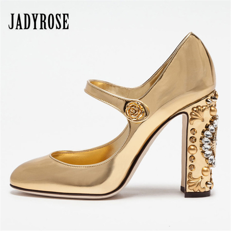 Jady Rose Sexy Mary Janes Patent Leather Women Pumps Chunky High Heels Crystal Clock Embellished Wedding Shoes Woman Stiletto luxury brand crystal patent leather sandals women high heels thick heel women shoes with heels wedding shoes ladies silver pumps