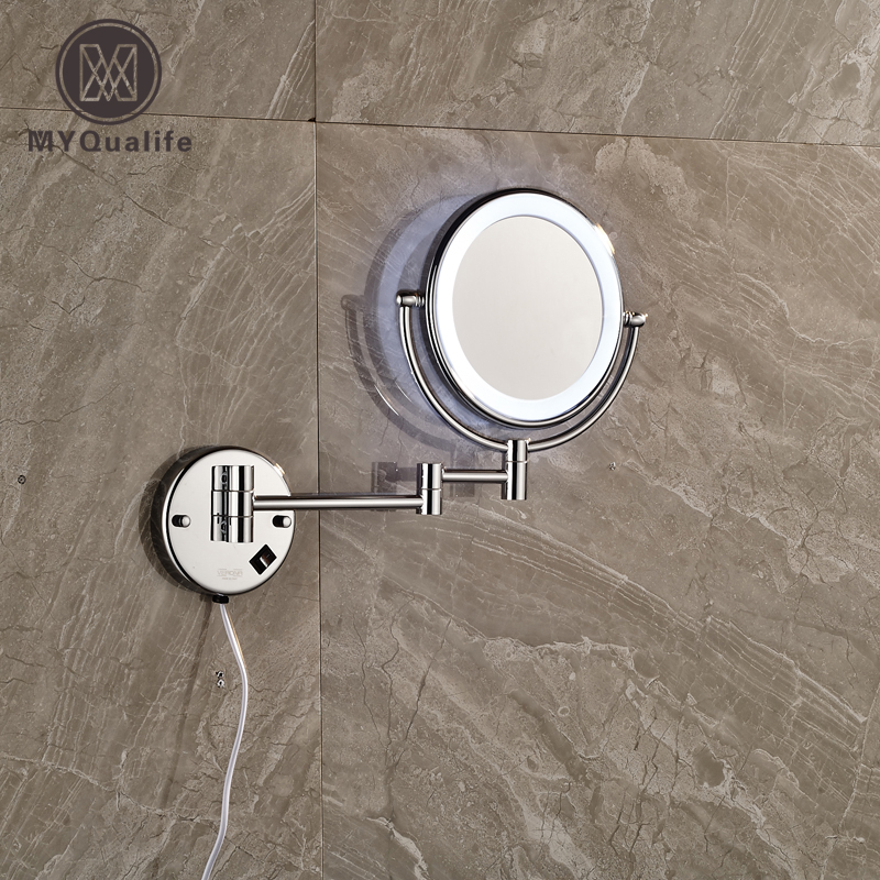 Luxury Chrome Decorative Bathroom Mirrors 2-Face Magnifying Make Up Mirror Ladies Makeup Mirror with Illuminated large 8 inch fashion high definition desktop makeup mirror 2 face metal bathroom mirror 3x magnifying round pin 360 rotating