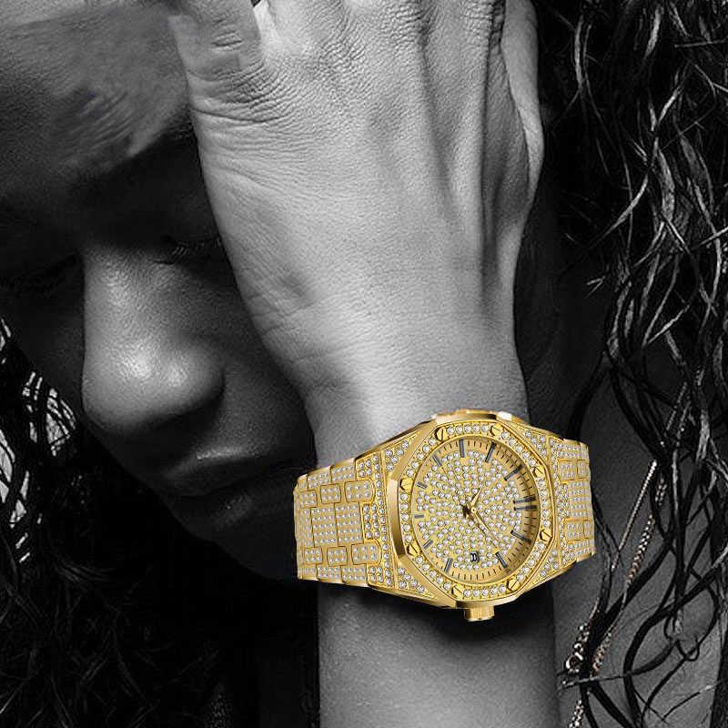 Missfox relógio feminino relógios de luxo marca 2019 18 k relógio de ouro moda calendário senhora diamante relógio feminino quartzo relógios de pulso hora