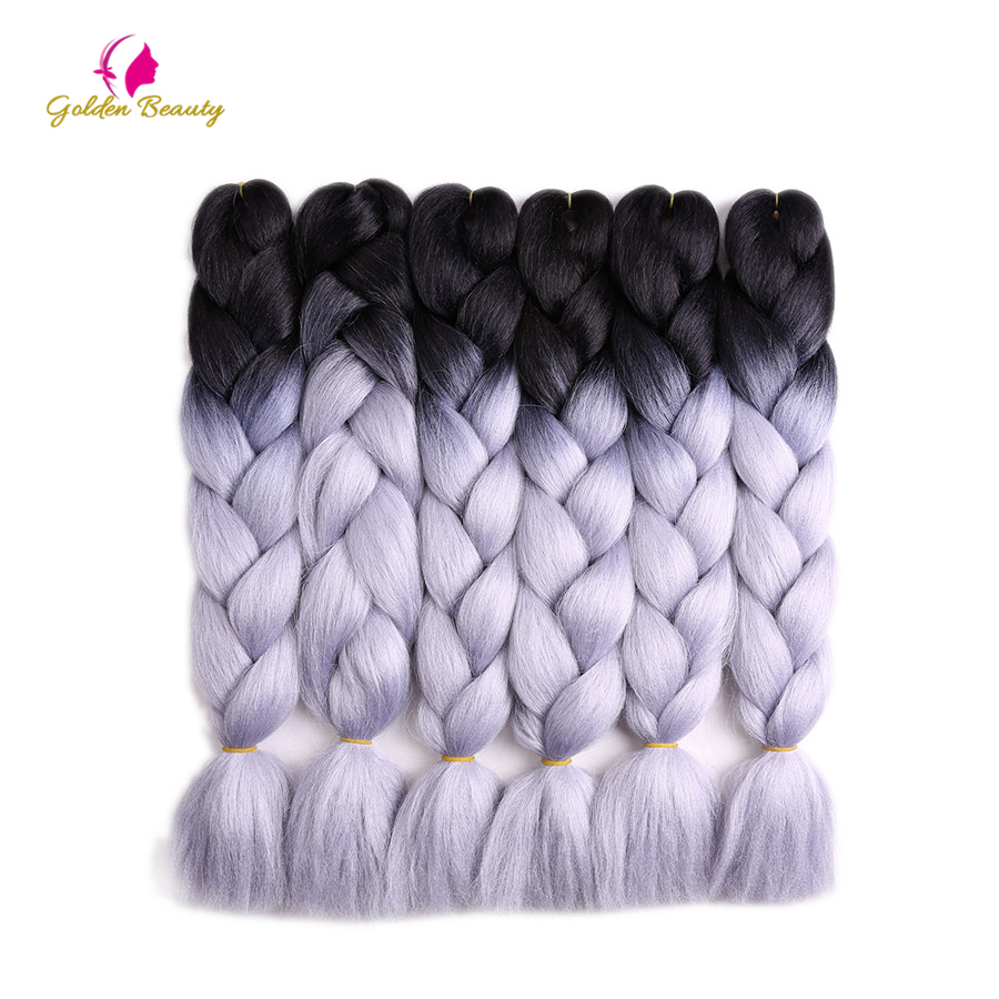Golden Beauty 10 packs/lot 24inch Two Tone Jumbo Braids Crochet Braids Synthetic Hair Extensions for Braid