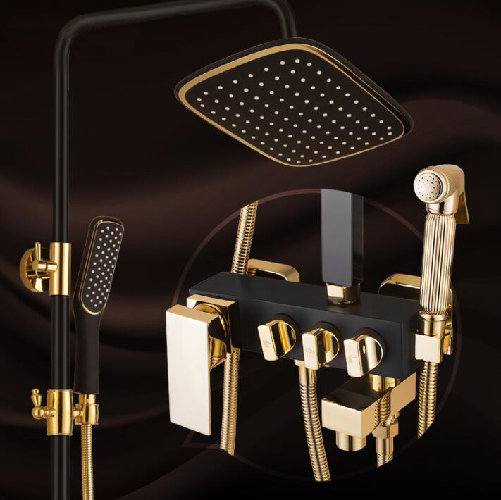 Bathroom Luxury black Golden shower mixer with bidet shower antique gold shower set bathroom Shower faucet Bathtub Faucet Sets