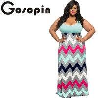 Gosopin Sexy Ladies Plus Size Light Blue Top Multicolor Zigzag Maxi Dress Vestidos Feminino Casual Party Loose Dresses LC61183