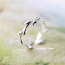 New 925 Sterling Silver Rings Olive Branch  Couple For Women Adjustable Free Shipping