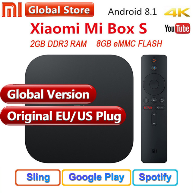 US $65 86 22% OFF Original Global Xiaomi Mi TV Box S 4K HDR Android 8 1  Ultra HD 2G 8G WIFI Google Cast Netflix IPTV Set top Box 4 Media Player-in