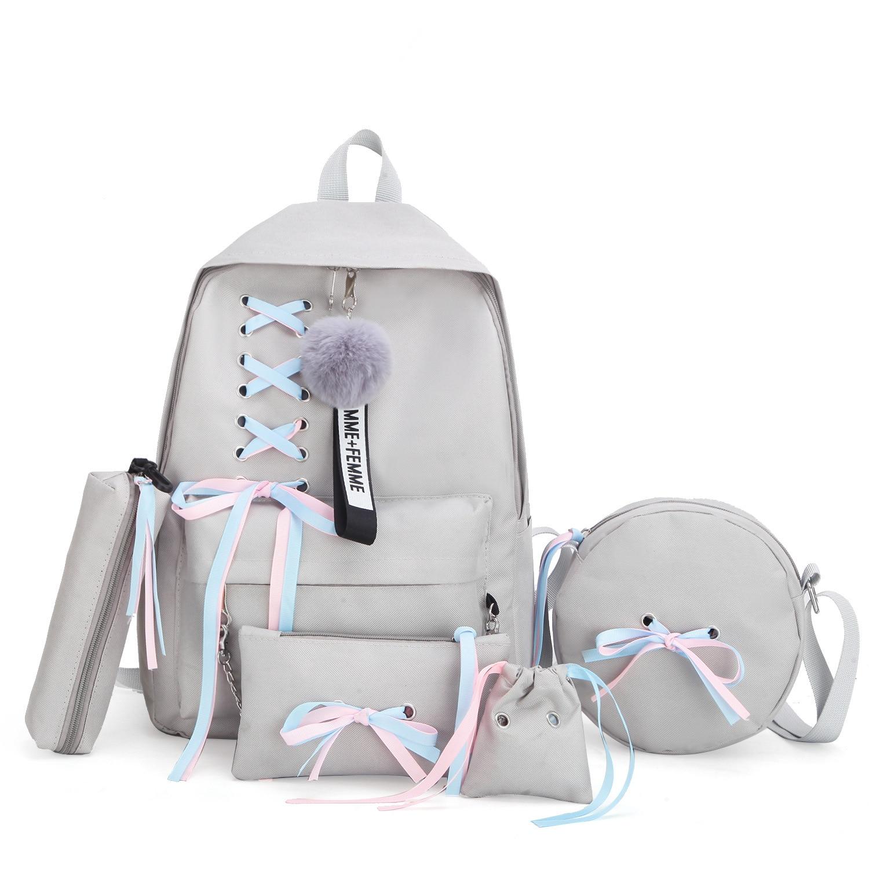 2019 Girl School Bag For Teenage Solid Backpack College Schoolbag Women Student Bag Black Lace Bow Bundle Backpack
