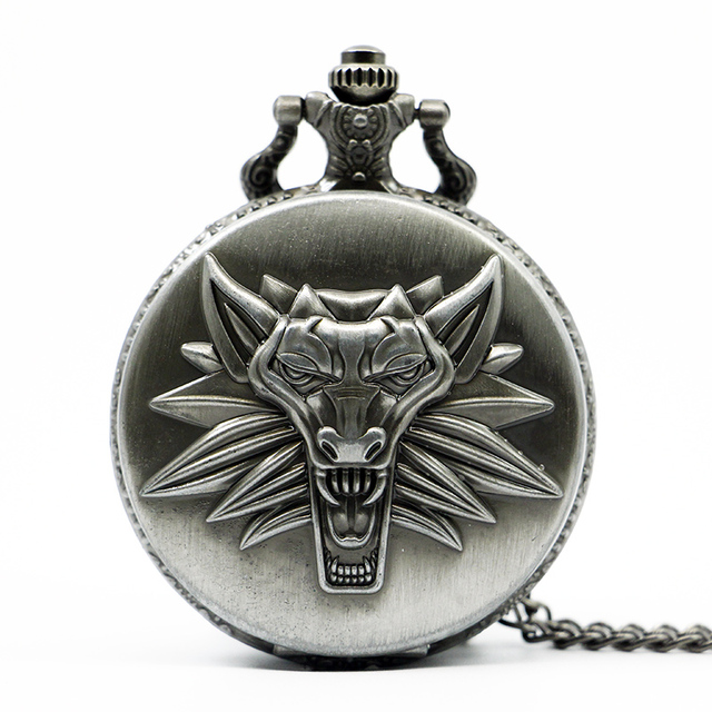 Hot Game Witcher 3 Quartz Pocket Watch Awesome Roaring Wolf Head Necklace Pendan