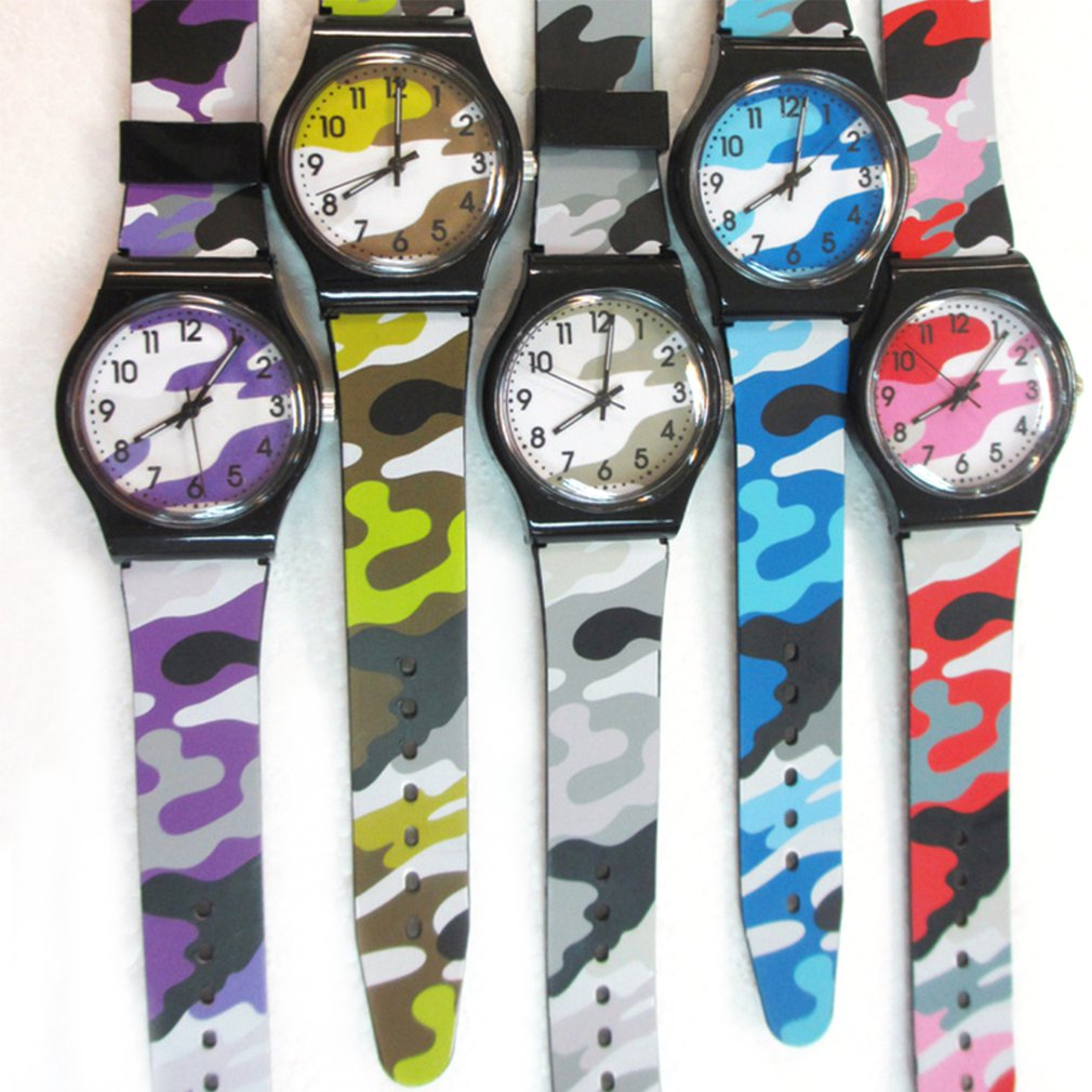New Kids Girls Boys Plastic Wrist Watch Analog Quartz Sport Watch Camouflage Watch Cartoon Watch PVC Wristband analog watch
