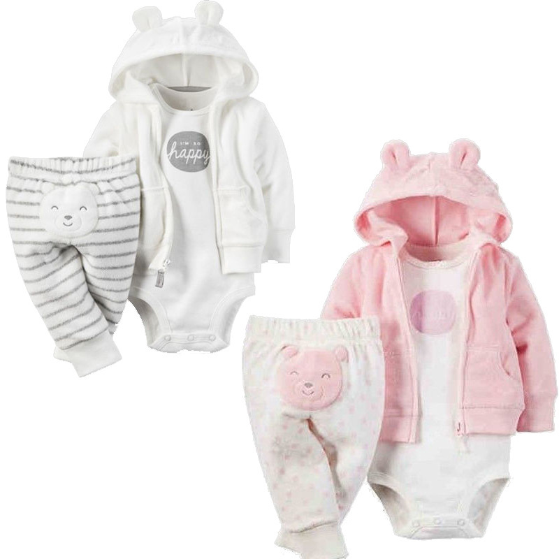 3 pcs Baby Girl Clothes Newborn Toddler Infant 100% Cotton Romper+Hoodies Coat+Pants Trouser Outfit 3M-24M Children Clothing