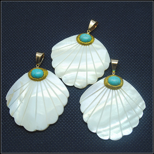 nature white shell pendants carving mother of pearl top fashion diy shell beads accessories new charms men pendants