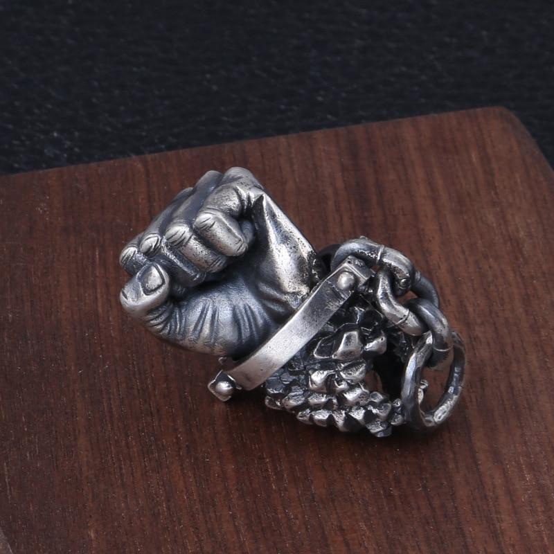 FNJ 925 Silver Destiny Pendant Punk Hand Your Fate Hang Original Pure S925 Thai Silver Pendants for Women Jewelry Making