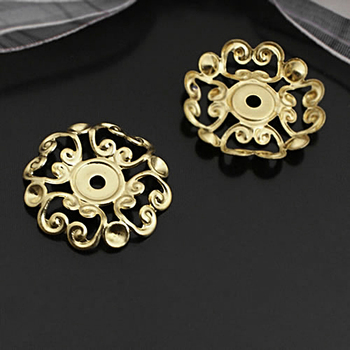 (27169)30PCS 22MM Not plated color Brass Round Flower Decorative Spacers Jewelry Findings Accessories