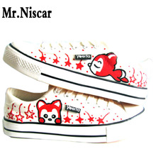 Lovely Civet Cats Style Low Lace-Up Girl Shoe Breathable Female Shoes Hand Painted Canvas Women Flat Shoe Women's Casual Shoes