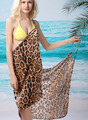 Hot Selling 2017 Summer Leopard Beach Dress V Neck Knee Length Poplin Leopard Beach Dress Sleeveless Sexy Dresses Free Shipping