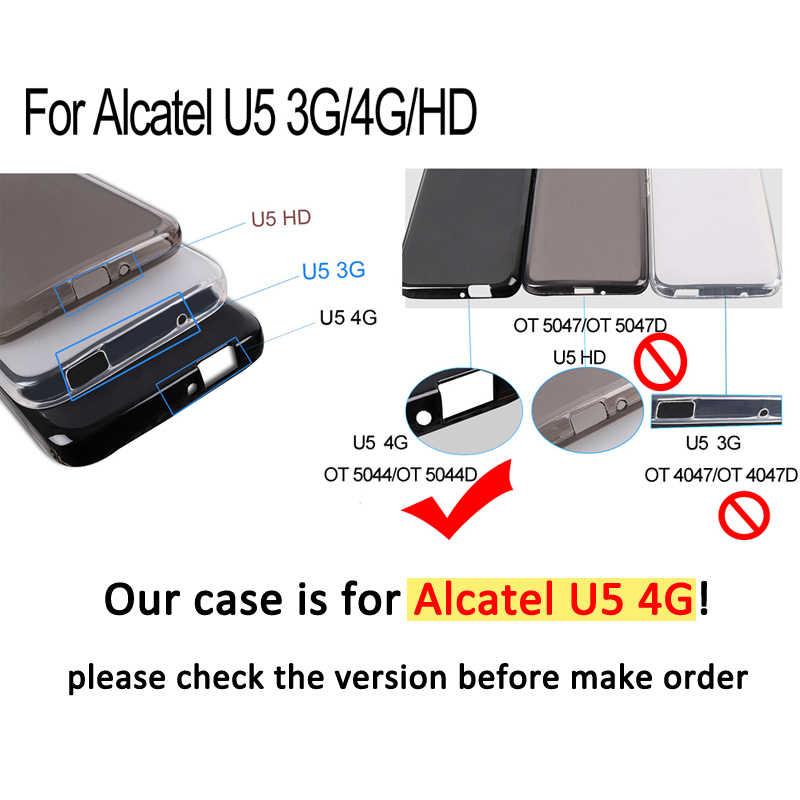 Étui en polyuréthane thermoplastique peint pour Alcatel U5 4G 5044D 5044Y 5.0 pouces étui pour Alcatel de couverture arrière en Silicone souple U5 4G 5044D 5044Y