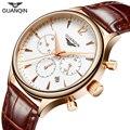 GUANQIN Reloj de la Marca de Los Hombres Elegantes de Moda Cronógrafo y 24 Horas Relojes de pulsera de Cuarzo de Negocios Multifunción de Gran promoción