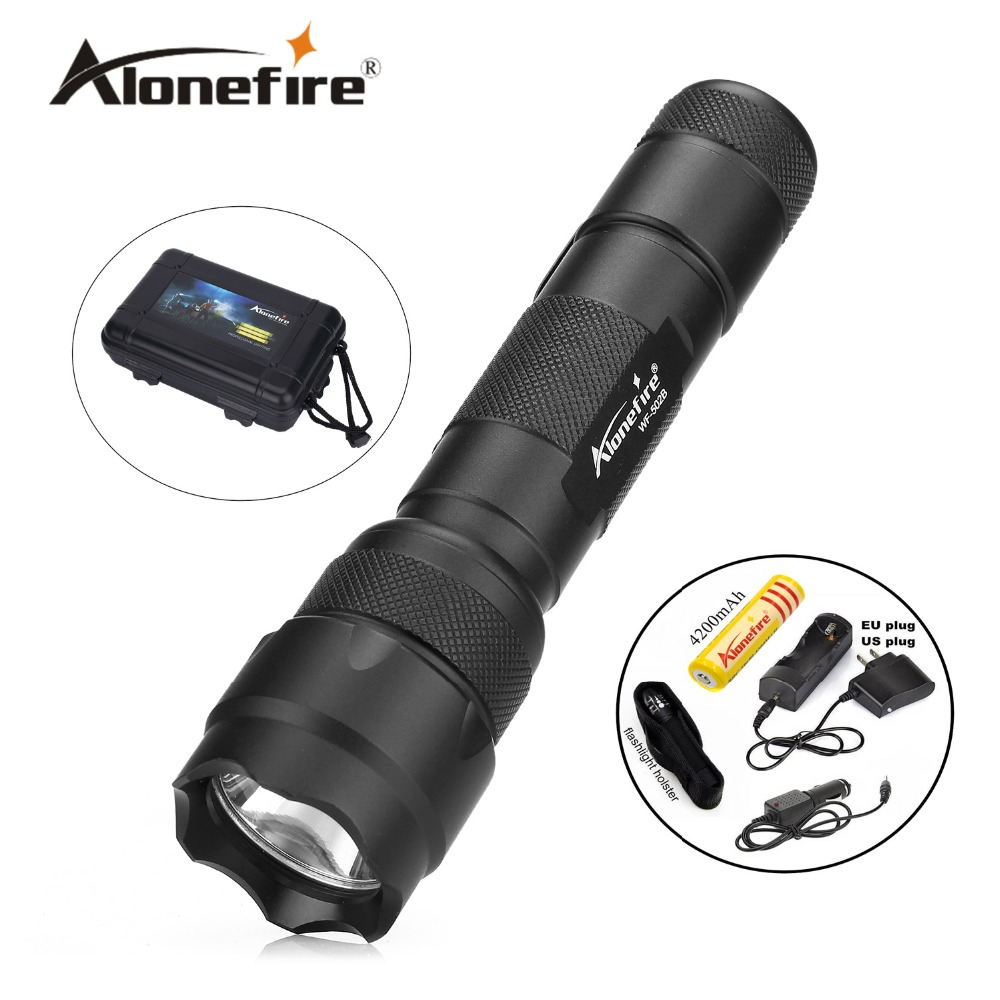 502B 1set Tactical Flashlight XML T6 LED Torch Lamp Lantern led Flashlight light lantern+Rechargeable 18650 battery+car charger rechargeable 2000lm tactical cree xm l t6 led flashlight 5 modes 2 18650 battery dc car charger power adapter