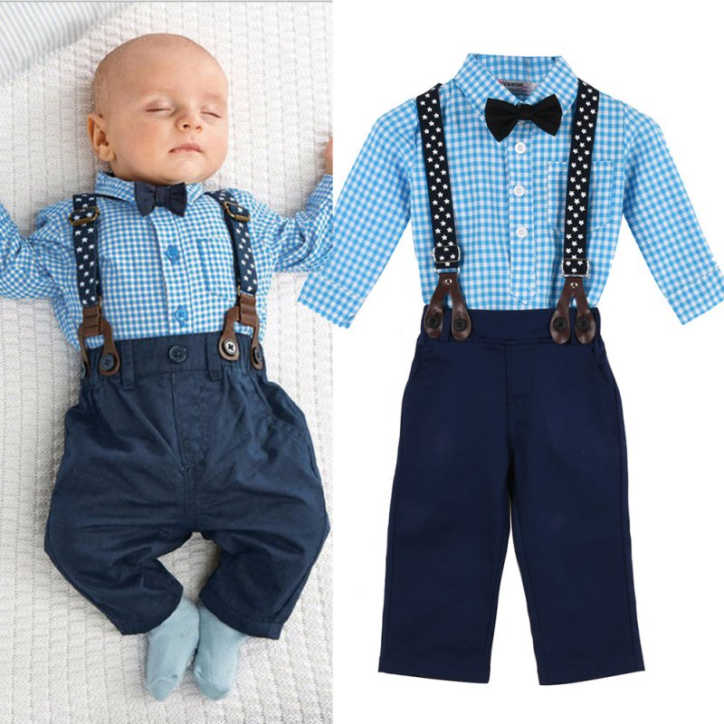 Spring Autumn Children Clothes Sets Baby Toddler Kids Boy Plaid Tops+Suspender Pants Wedding Party Outfits Suit 2pcs