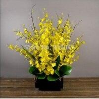 אינדיגו-פרח צהוב גברת סט-הריקודים הקטן-סחלבים דקורטיבי פרחים מלאכותיים משי סחלבים משלוח חינם מסיבת חתונה