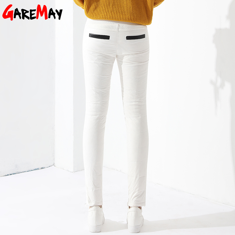 Warm Womens Trousers Winter 2017 New Winter Pants Women White Color High Waist Duck Down Pants For Women Female GAREMAY