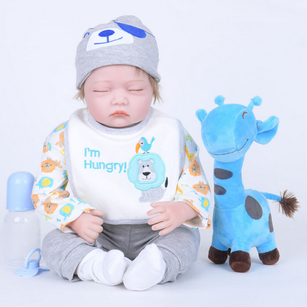 22 inches Closed Eyes Newborn Baby Doll Soft Silicone Realistic Reborn Princess Girl Doll for Kids Toy Birthday Christmas Gift lovely christmas reborn doll silicone 16inch newborn baby doll realistic toddler doll kids birthday gift