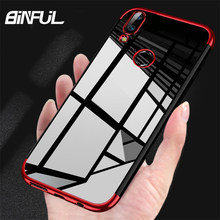 For Huawei P Smart 2019 Case Cover Transparent Plating Soft Silicone Back Cover For Huawei P Smart 2018 Honor 9 Lite Phone Case(China)
