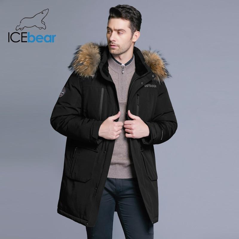 ICEbear 2019 nueva chaqueta de invierno para hombre chaqueta desmontable de alta calidad chaquetas de hombre gruesa ropa de cuello de piel caliente MWY18963D-in Plumíferos from Ropa de hombre    3