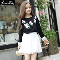 LouisDog 2016 Autumn kids girls black long sleeve t shirt teenagers juniors 100% cotton embroidered tee tops size 6-16Y