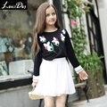 LouisDog 2016 Outono crianças meninas camiseta de manga longa preta juniores adolescentes 100% algodão bordado t tops tamanho 6-16Y